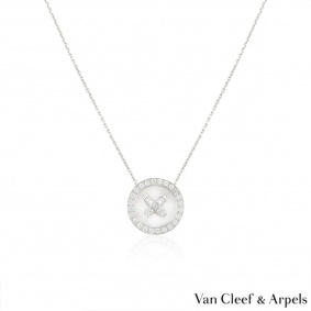 Van Cleef & Arpels White Gold Diamond Button Pendant